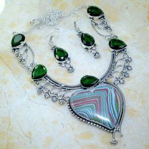 Silver Rainbow Calsilica and Peridot Jewelry Set.